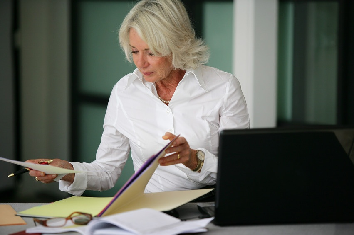 Female attorney writing a law blog entry