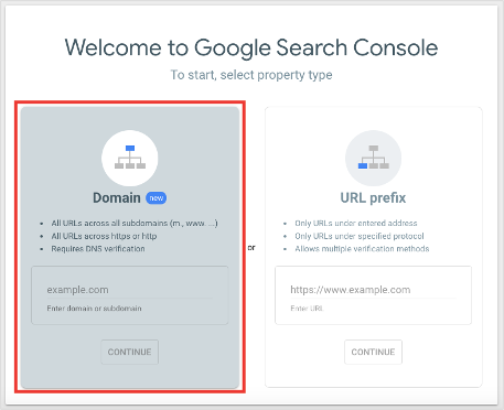 Google Search Console Setup Select Property Type