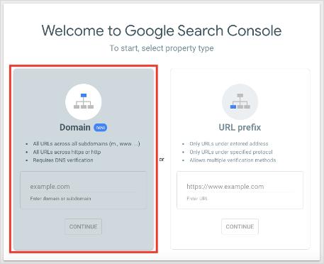 Google Search Console Setup Select Property Type