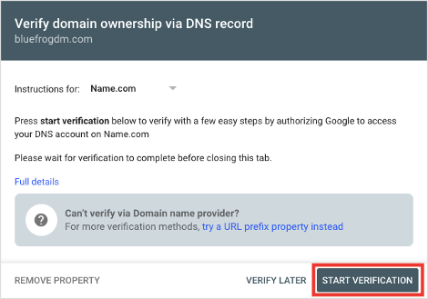 Google Search Console Start Domain Ownership Verification Process