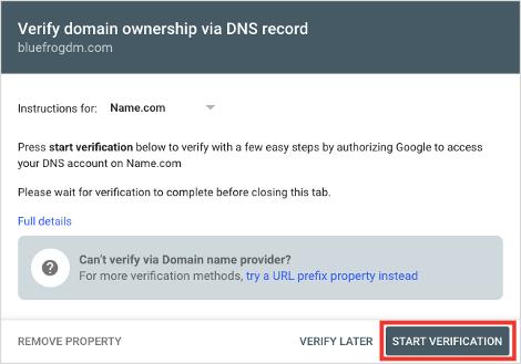 Google Search Console Start Domain Ownership Verification Process