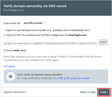 Google Search Console Verify Domain Ownership for Any DNS Provider