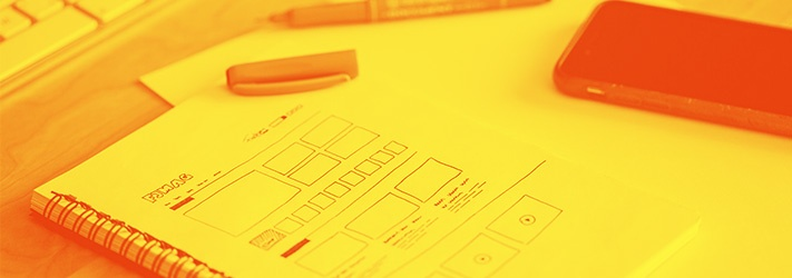 Drawing of UX design on notebook