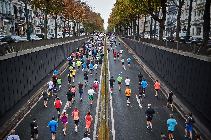 street marathon runners in road