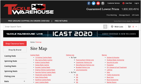 tackle-warehouse-sitemap